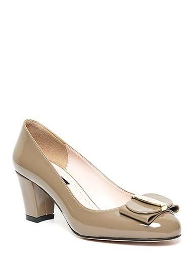 Kuum Kalın Topuklu Rugan Ayakkabı Vizon